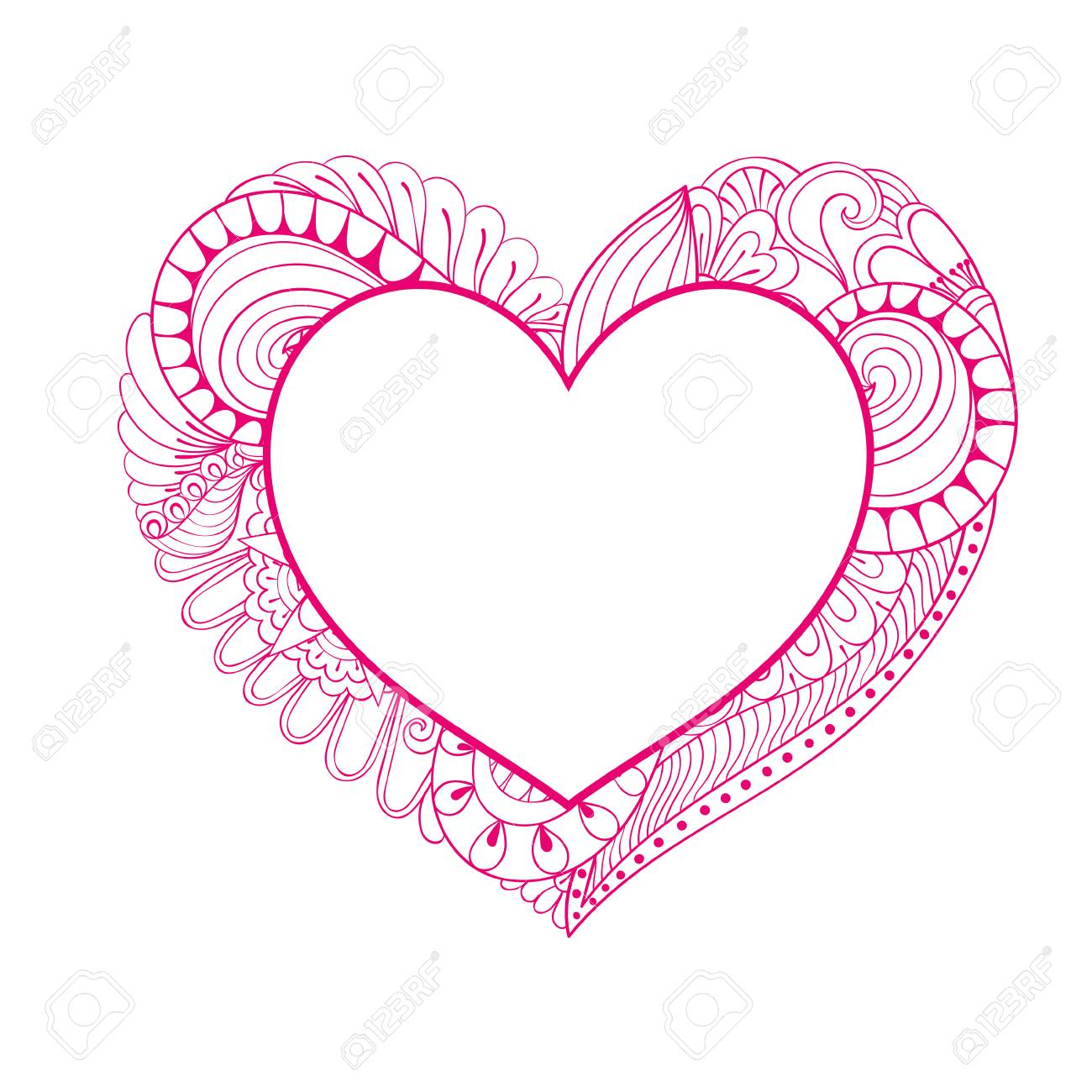 Floral Doodle Pink Heart Frame In Zentangle Style For Adult Coloring Page Hand Drawn Vector