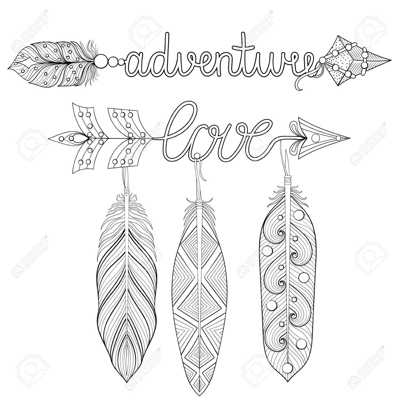 Avventura Bohémien Love Arrows Con Piume Per Adulti Da Colorare Arteterapia Stampa T Shirt Con Motivi Etnici Stile Tribale Boho Chic