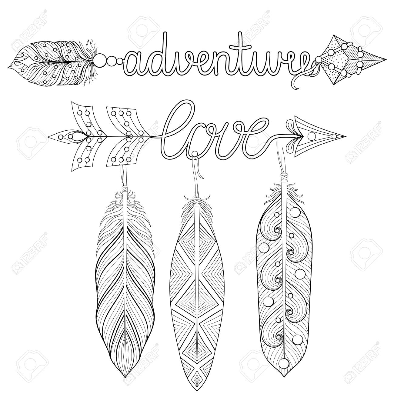 Bohemian Adventure Love Arrows Set With Feathers For Adult Coloring