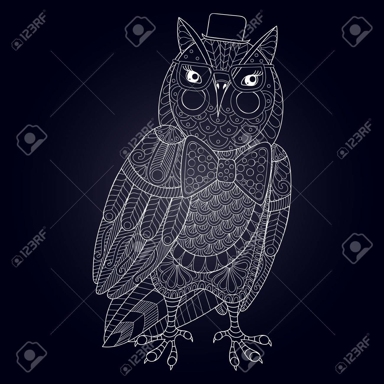 Zentangle Owl Painting For Adult Anti Stress Coloring Page Book