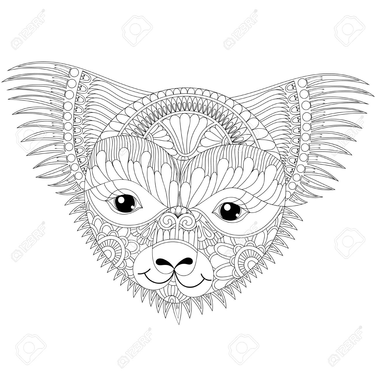7ca1ab329c92b Hand drawn patterned illustration. Vector zentangle happy friendly koala  face for adult anti stress coloring pages, book, Australian