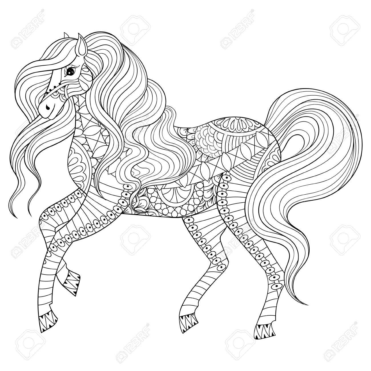 Adulte Coloriage Anti Stress A Cheval Hand Drawn Animaux Zentangle Pour Livre De Coloriage Art Therapie Carte De Voeux Element De Decoration