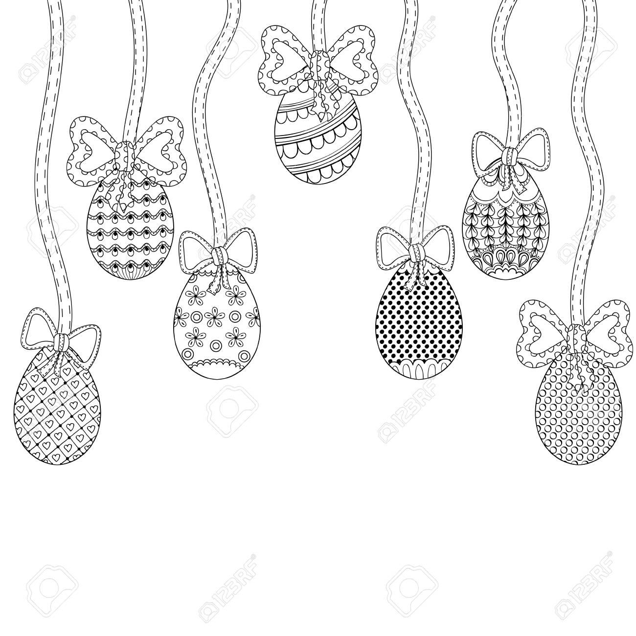 Zentangle Huevos De Pascua Con La Decoración Ornamental Elementos