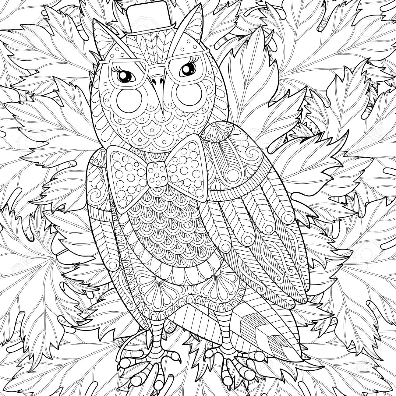 Zentangle Owl Painting For Adult Anti Stress Coloring Page Color Royalty Free Cliparts Vectors And Stock Illustration Image 69992640