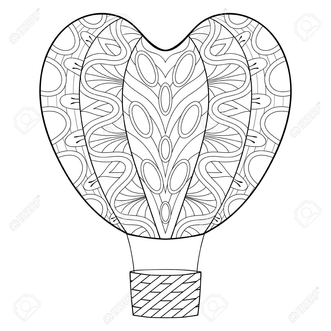 Hand Drawn Zentangle Balloon In Heart Shape For St Valentine