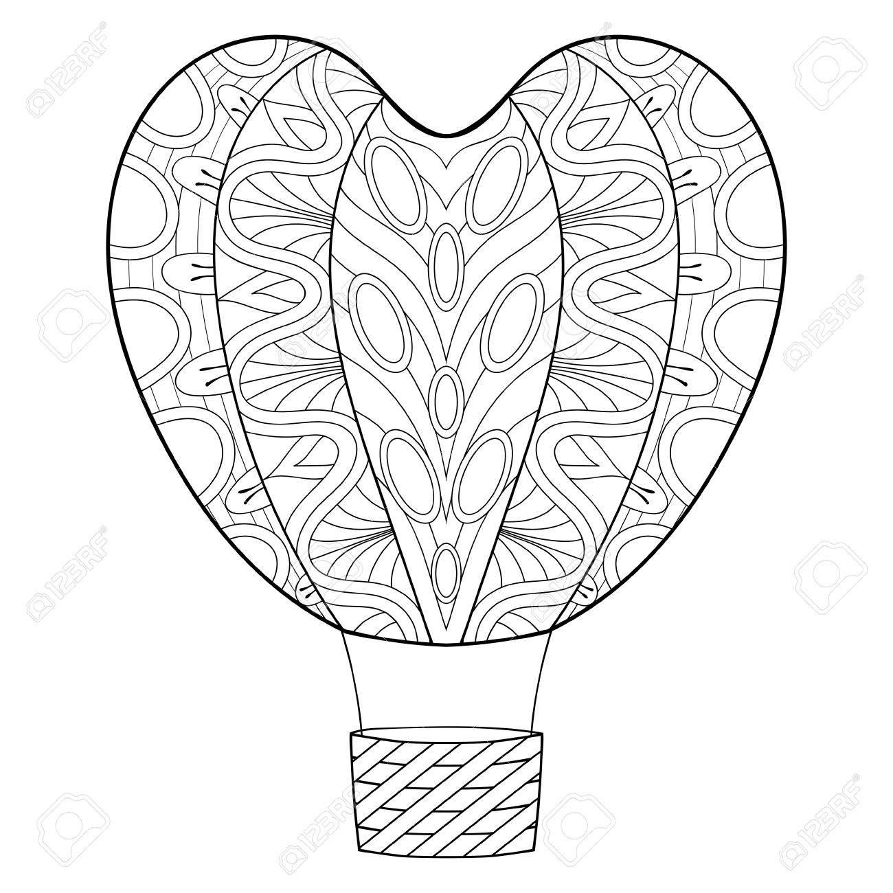 Hand Zentangle Ballon In Herzform Für St. Valentine Tag Gezeichnet ...