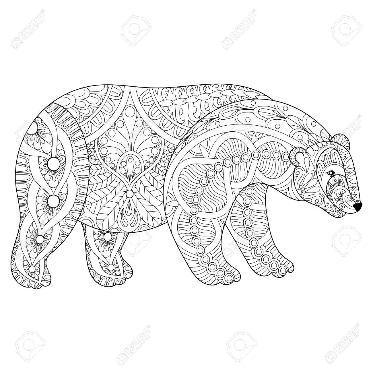 - Vector Zentangle Polar Bear Head For Adult Anti Stress Coloring