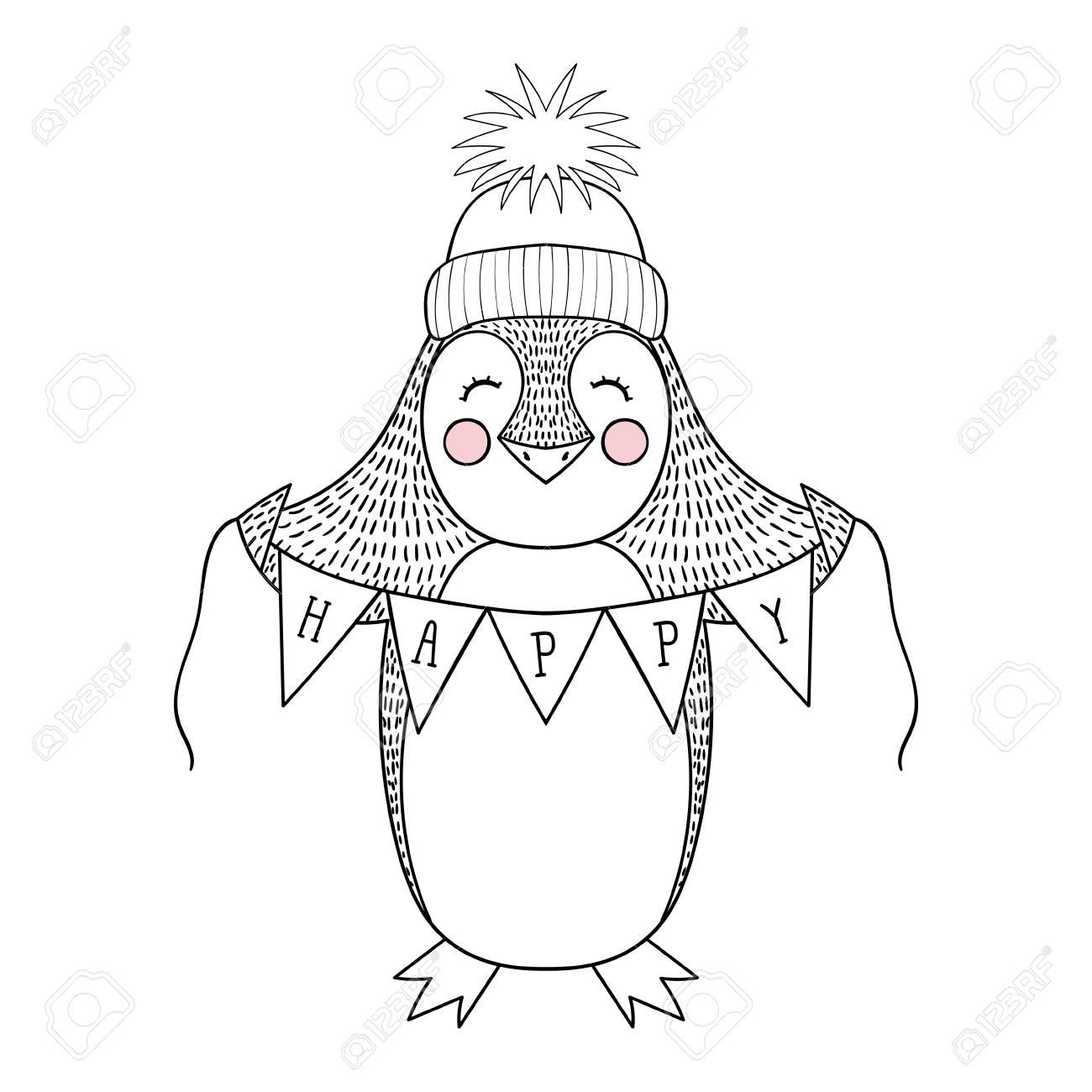 Historieta Dibujada Mano Divertida Del Pingüino Con La Bandera Feliz ...