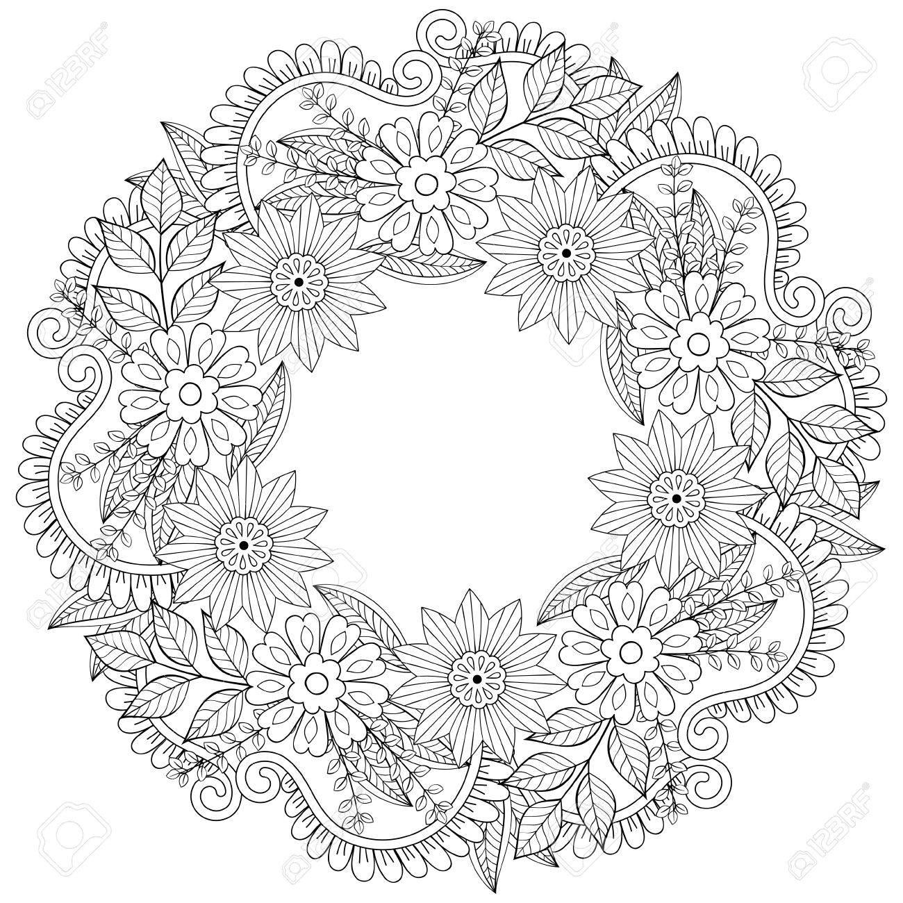 Garabatos Guirnalda Floral En Estilo Del Zentangle. Marco Del ...