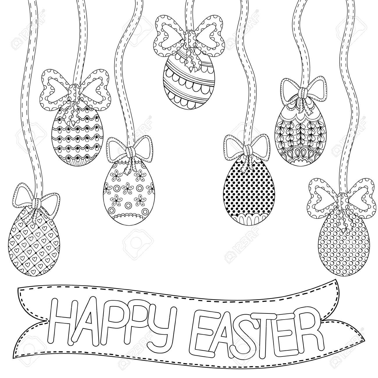 Feliz Pascua Banner Zentangle Huevos Con Elementos Ornamentales Decorativos Cintas Arcos Ilustración Del Vector Para El Libro Para Colorear