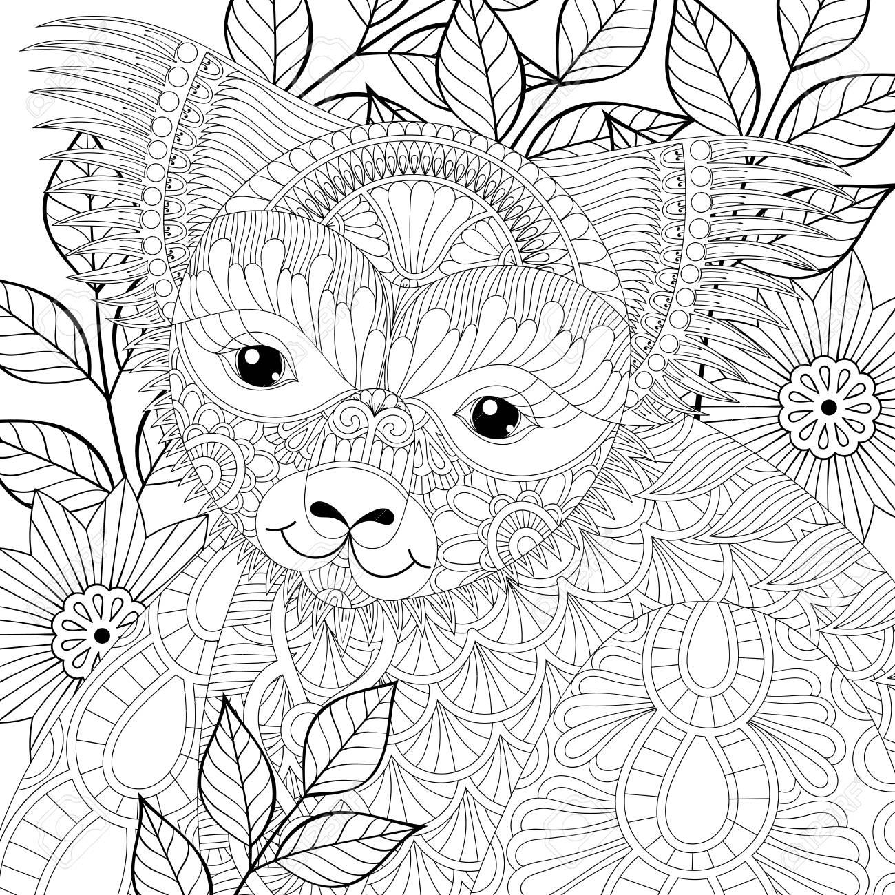 Vector Zentangle Happy Friendly Koala For Adult Anti Stress Coloring
