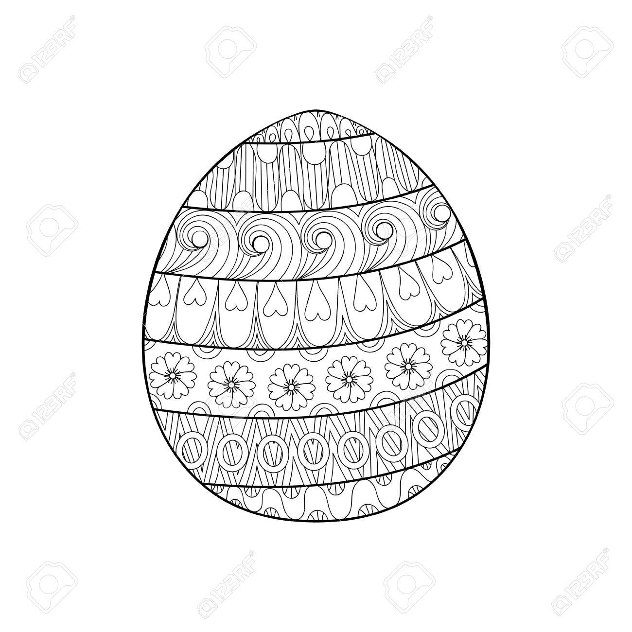 Happy Easter Zentangle Egg Decorated With Ornament Design Doodle Element For Adult Antistress Coloring Pages