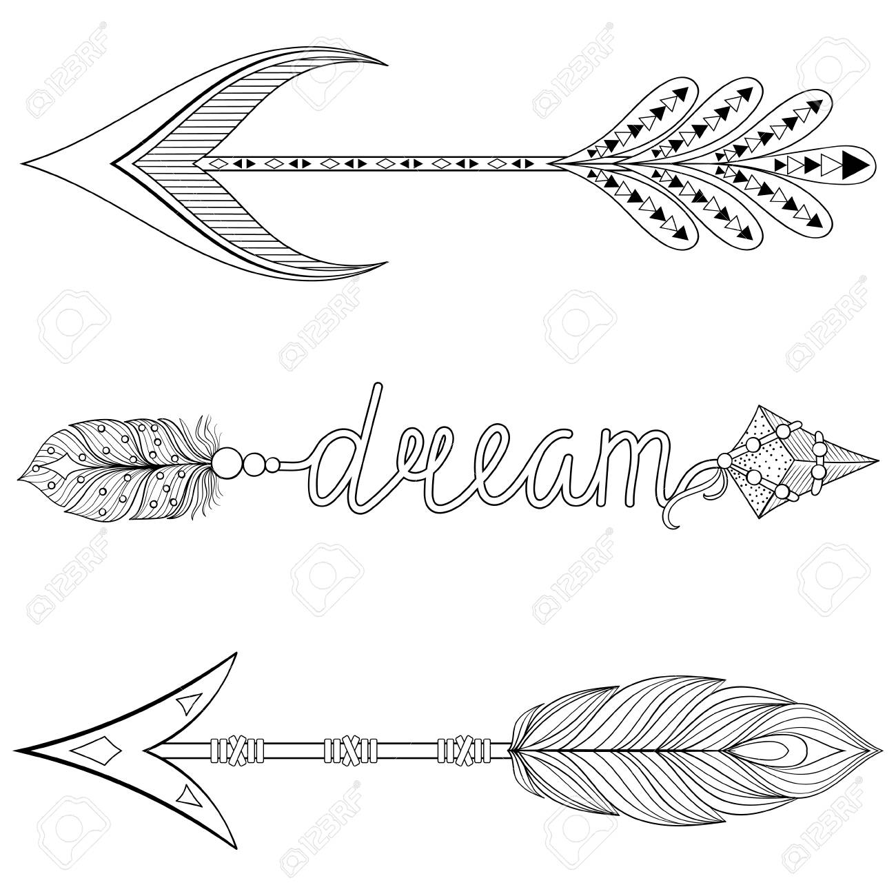 - Bohemian Dream Arrows Set With Feathers For Adult Coloring Pages