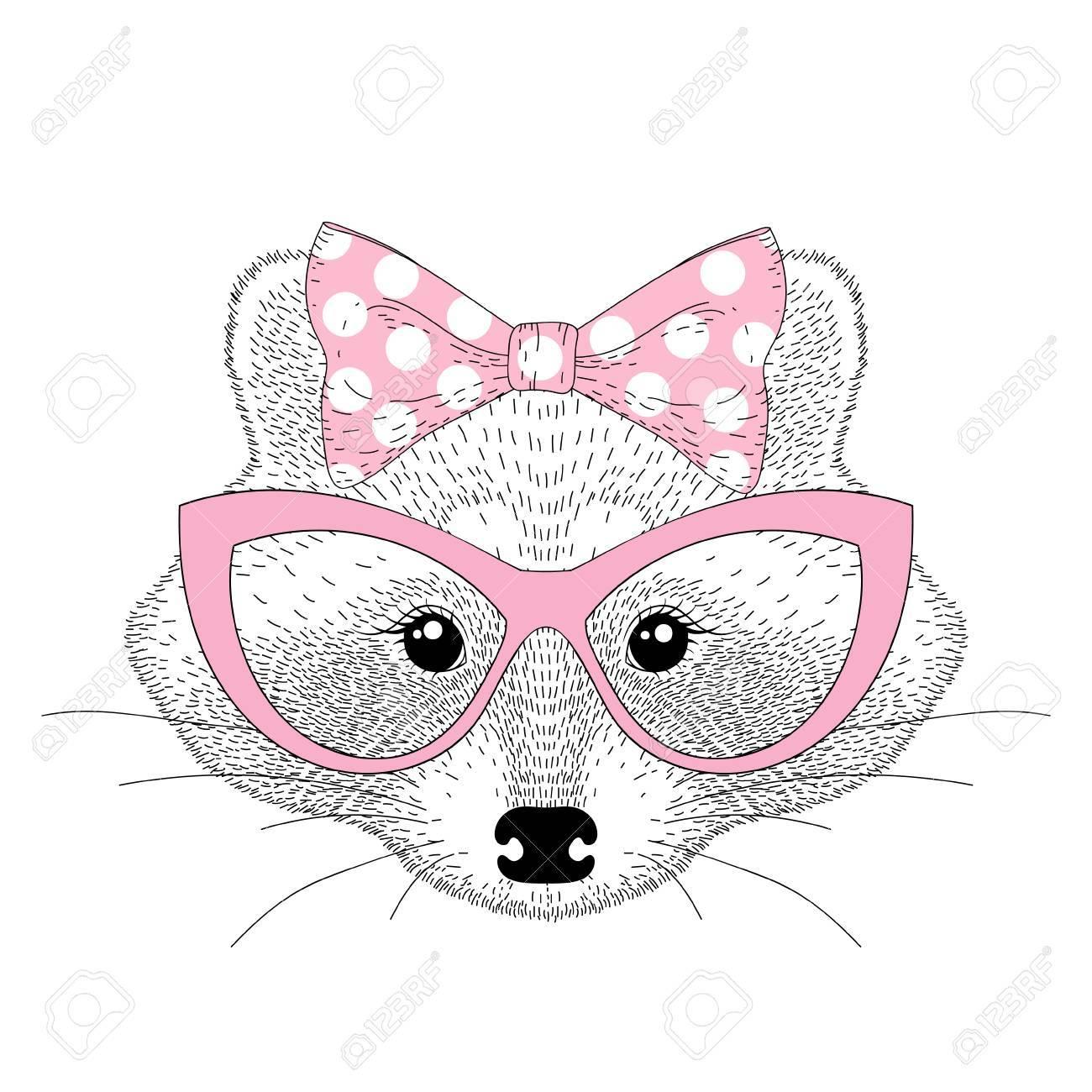 猫の目のメガネとのベクトルかわいいアライグマ少女の肖像画手描き T