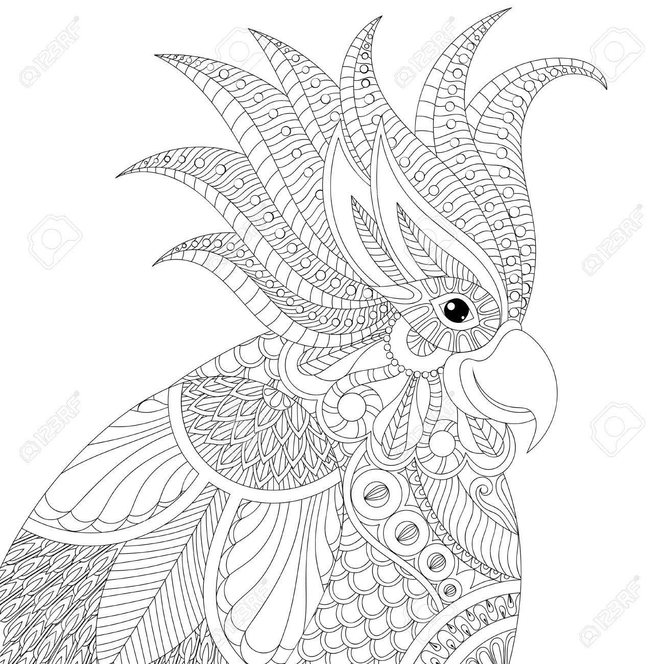 Coloriage Anti Stress Perroquet.Perroquet Exotique De Cacatoes Zentangle Tropical Pour Les Pages A Colorier Adultes Anti Stress Livre Tete D Oiseau Pour L Art Therapie Carte De