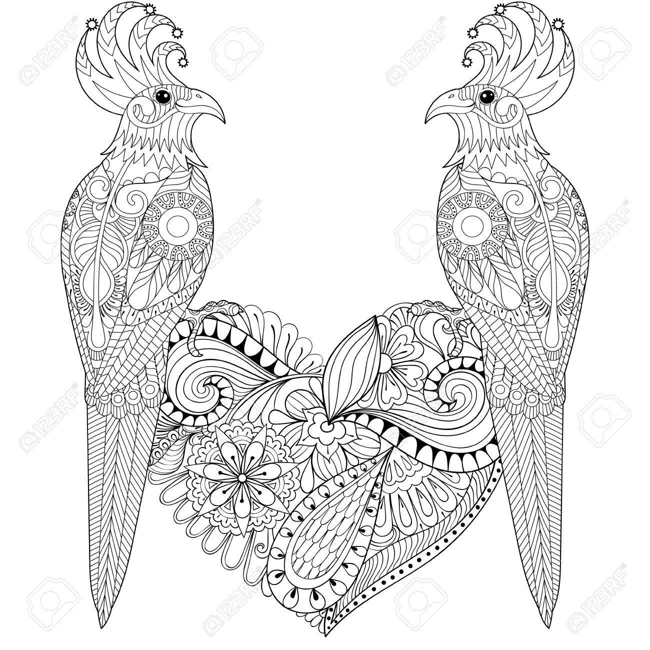 Exótico Pájaro Tropical Zentangle Encantadora Pareja De Adultos ...