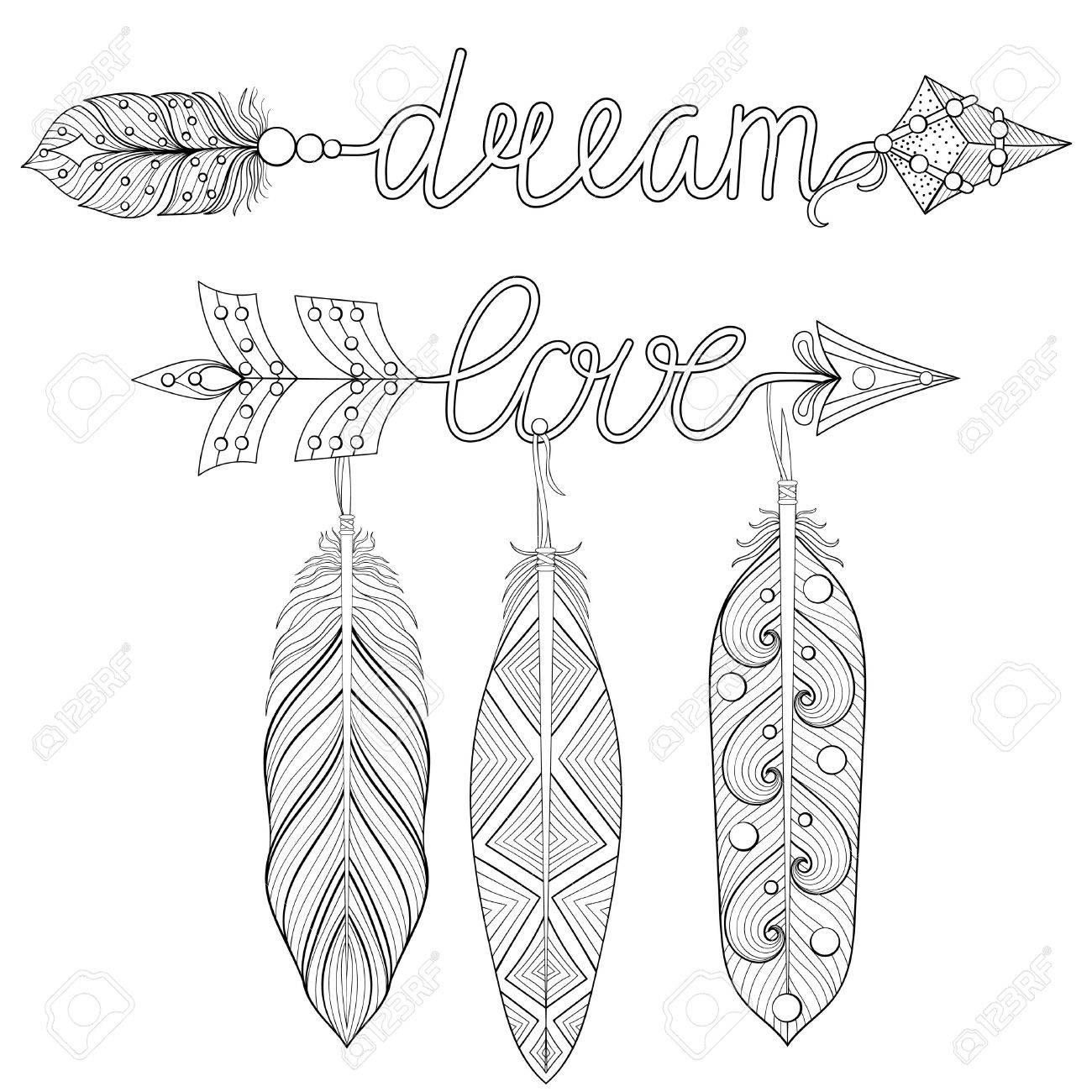 Bohemian Dream Love Arrows Sertie De Plumes Pour Coloriages Adultes Art Therapie Impression De T Shirts A Motifs Ethniques Style Tribal Boho Chic Illustration Doodle Conception De Tatouage Au Henne Clip Art Libres De