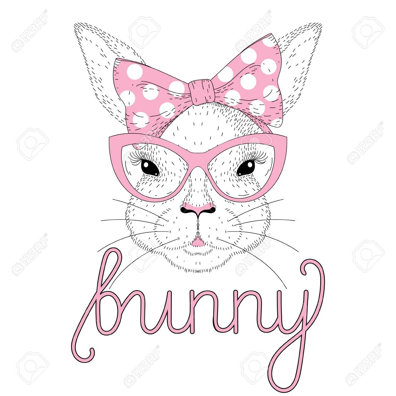 arrive livraison rapide thésaurisation comme une denrée rare Portrait de lapin mignon Vector avec rose pin-up noeud papillon sur la  tête, lunettes de soleil oeil de chat. Illustration animale dessinés à la  main ...