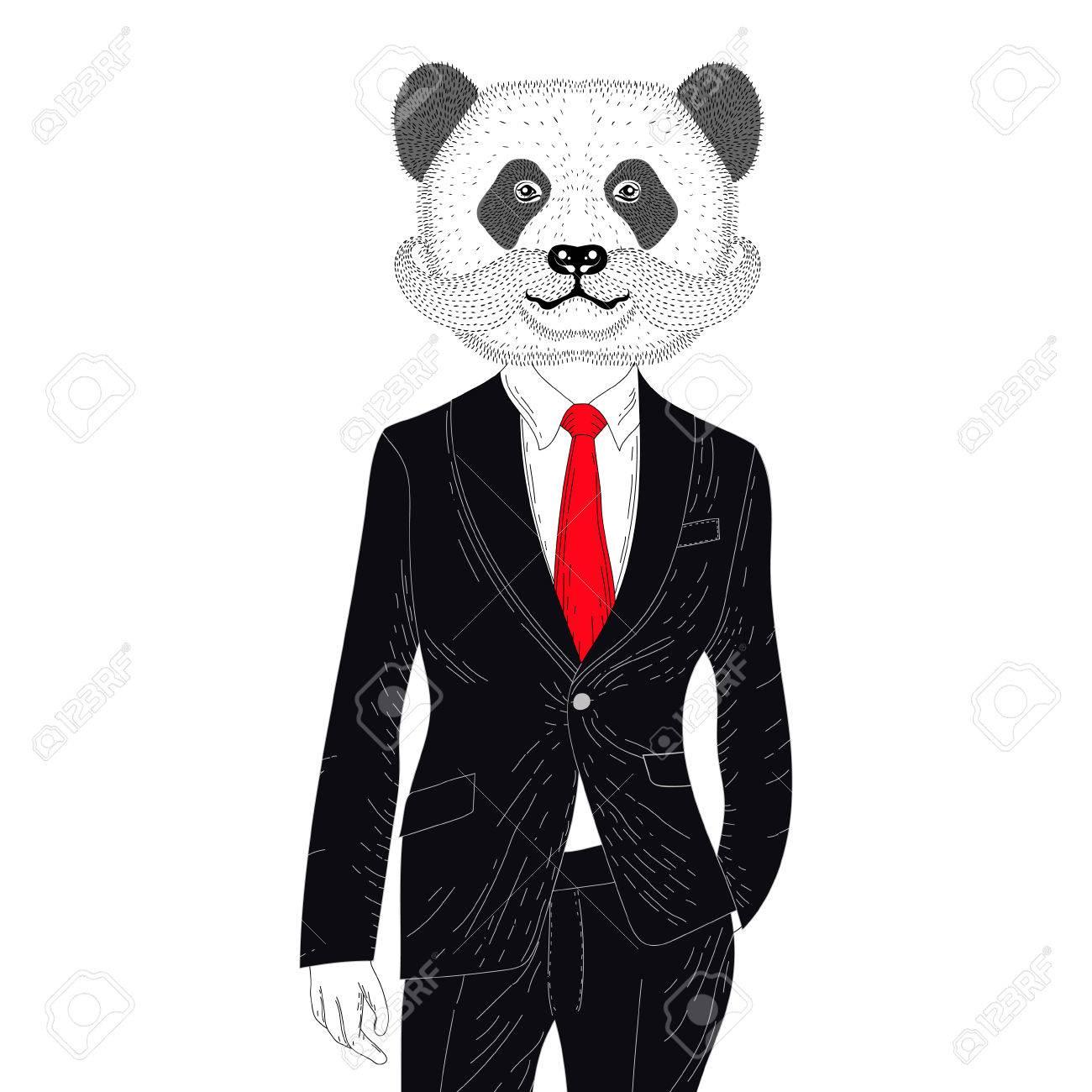エレガントな古典的なスーツでベクトルの残忍なパンダ手描き擬人化クマ