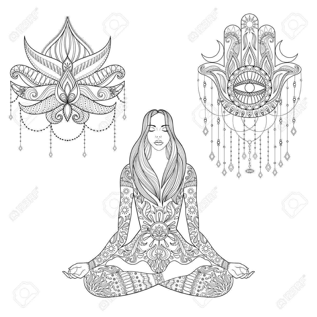 Woman sitting in lotus position hamsa hand flower tattoo design woman sitting in lotus position hamsa hand flower tattoo design stock vector izmirmasajfo Gallery