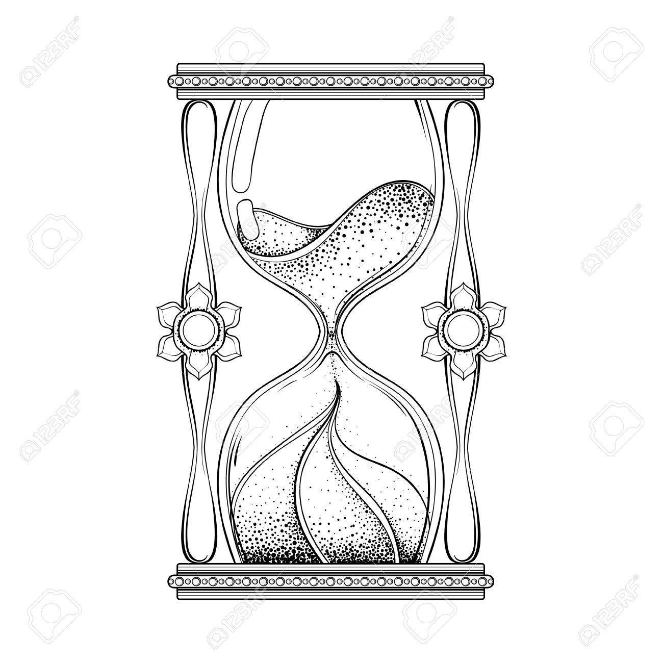 Antiguo Reloj De Arena Asistente De La Vendimia En El Diseño Del Tatuaje Dotwork Para La Impresión Alquimista Camiseta Adulto Libro De Colorear