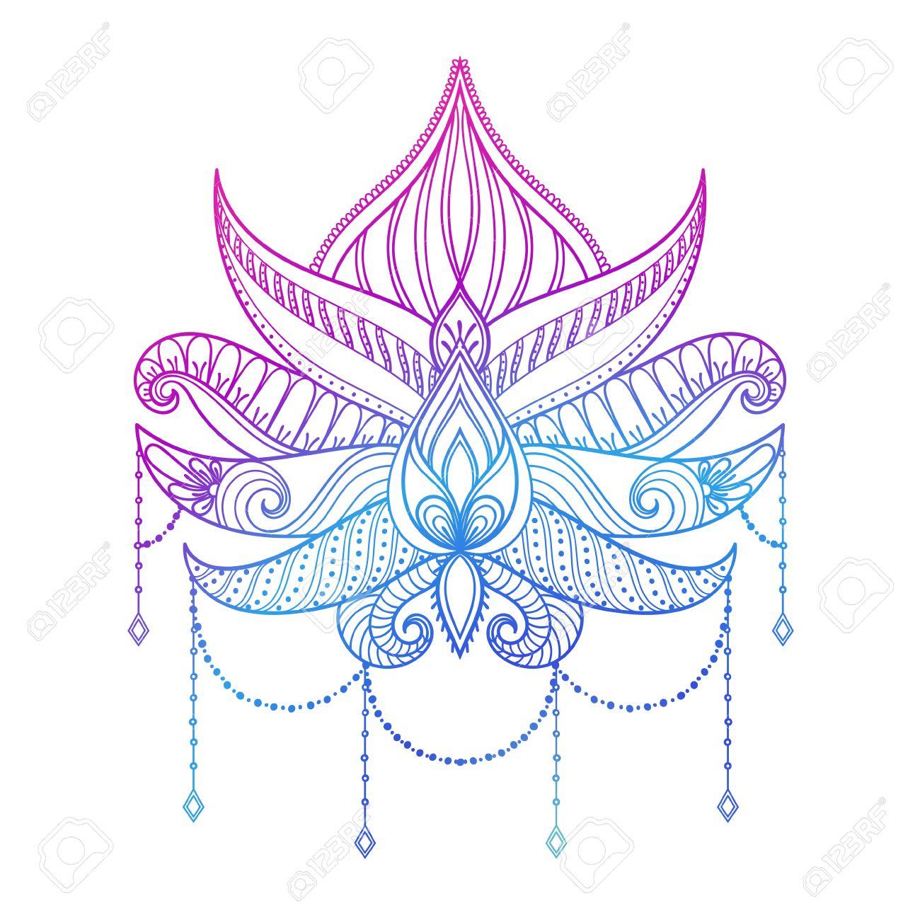 Dibujado A Mano Ilustración Vectorial Flor De Loto El Color Paisley