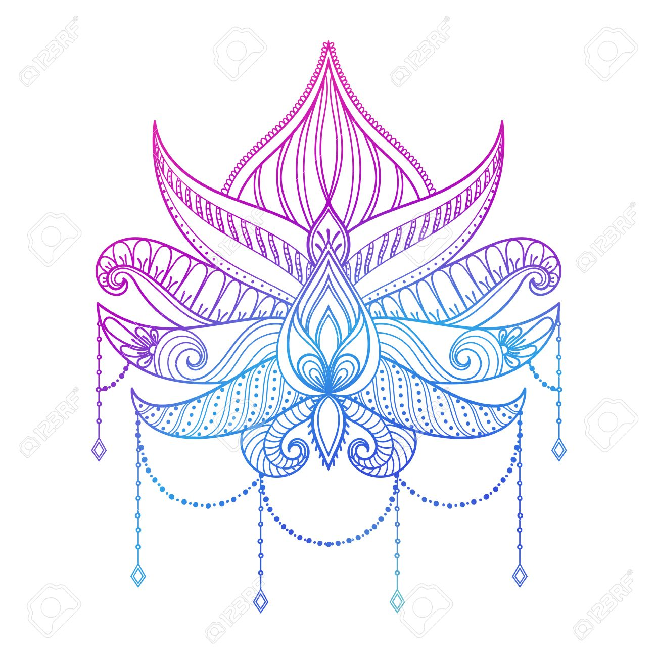 Hand Drawn Vector Lotus Flower Illustration Color Ornamental Ethnic