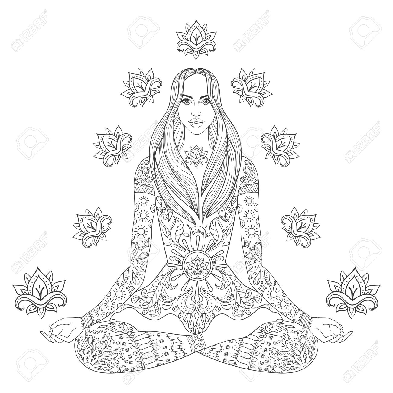Meditando Chica Beauyiful Sentado En Posición De Loto. Vector ...