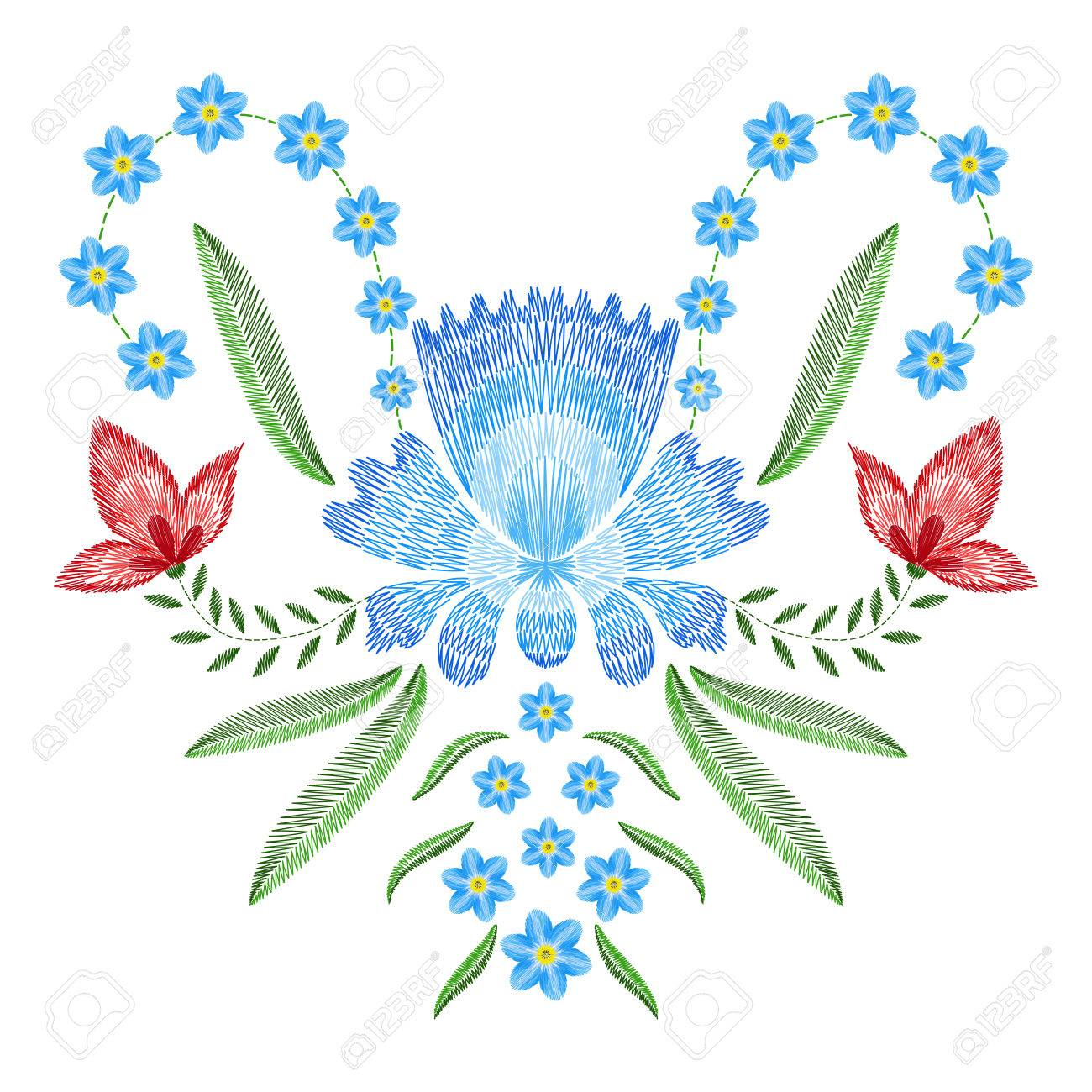 Embroidery Stitches With Spring Flowers Forget Me Not Fashion