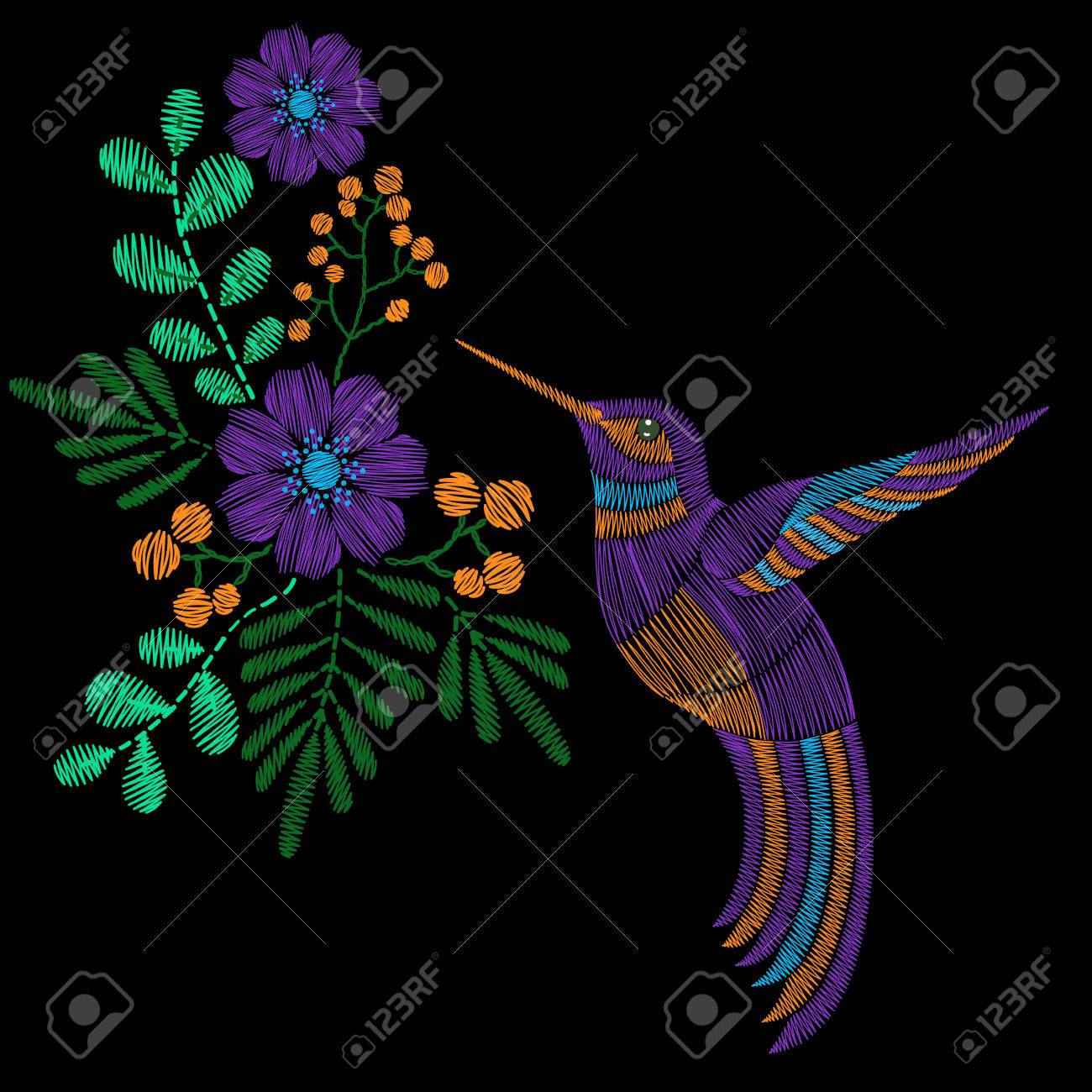 Embroidery stitches with hummingbird, wild flowers  fashion ornament