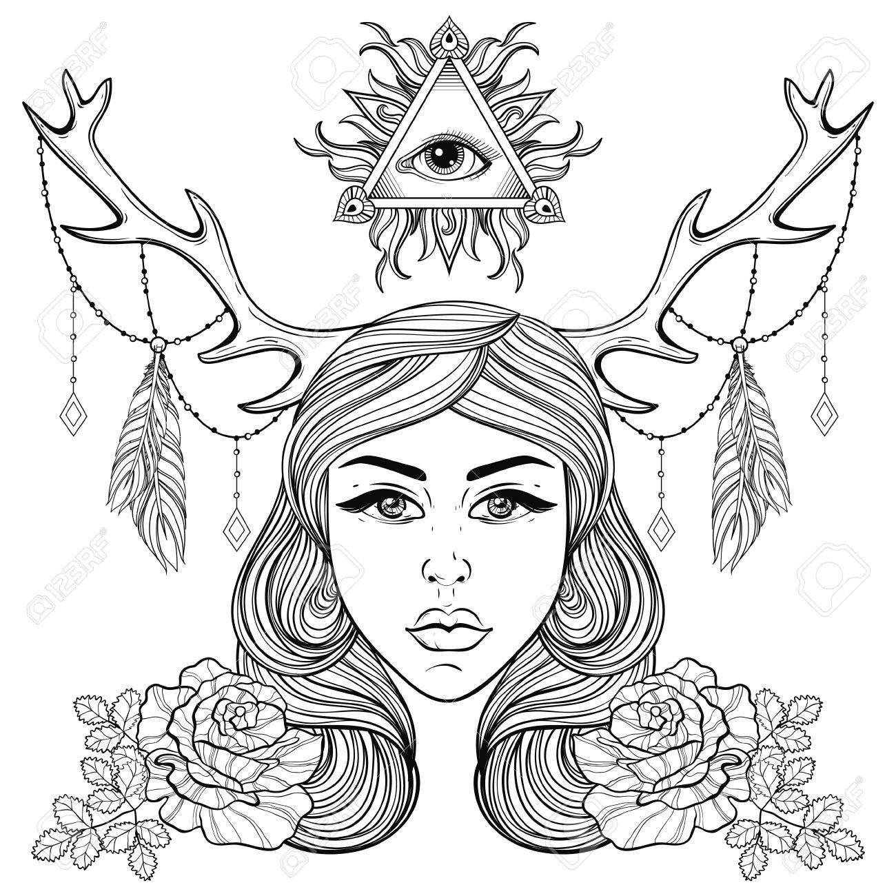 Beautiful girl with horns decorated boho elements vector woman beautiful girl with horns decorated boho elements vector woman with roses all seeing eye buycottarizona Image collections
