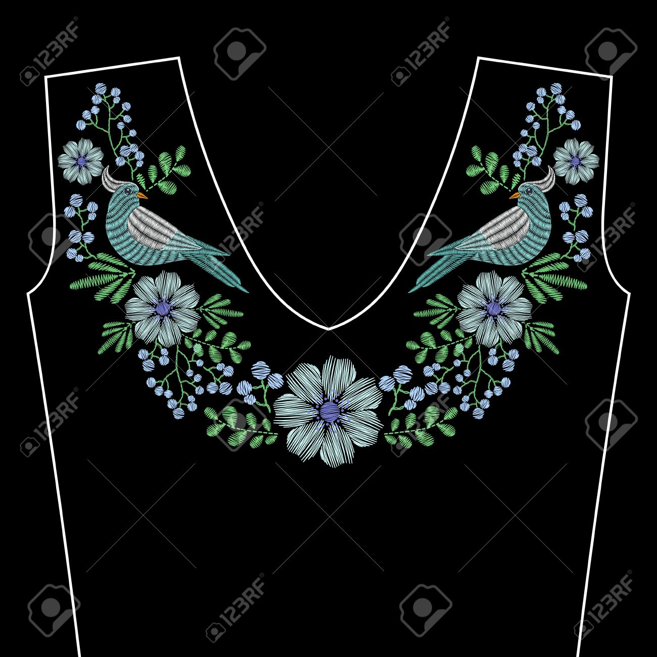 Embroidery stitches with dove bird, indigo wild flowers for neckline
