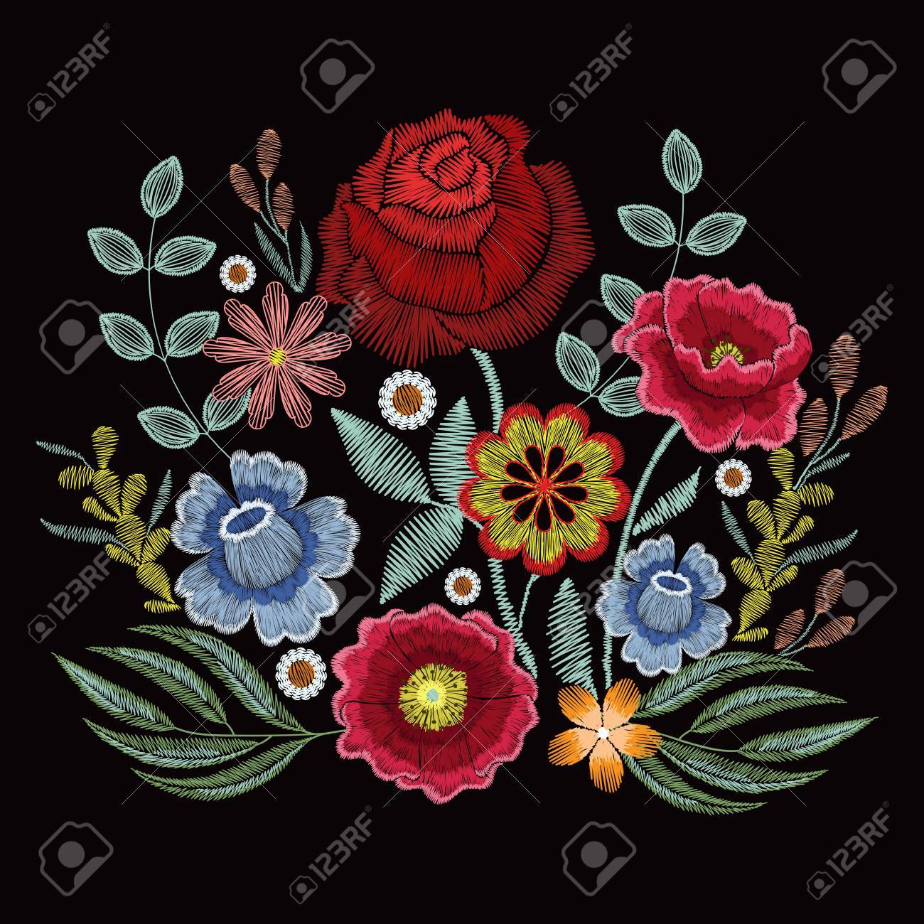Embroidery spring wild flowers for fashion clothes, apparel decoration - 89245156