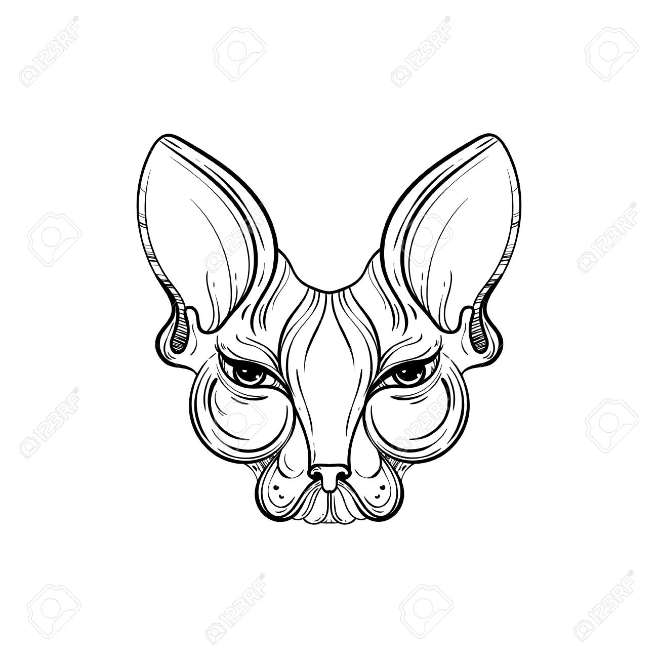 sphynx cat face vector illustration tattoo template in monochrome