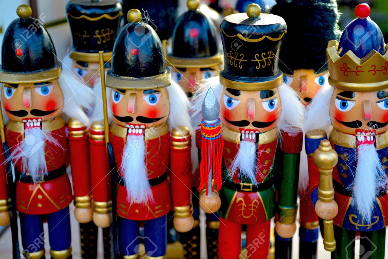 Row Of Colorful Christmas Nutcrackers Stock Photo, Picture And ...
