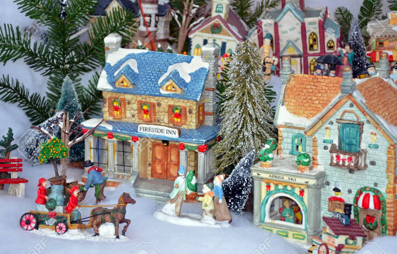 Christmas Village Display.Colorful Miniature Christmas Village Display