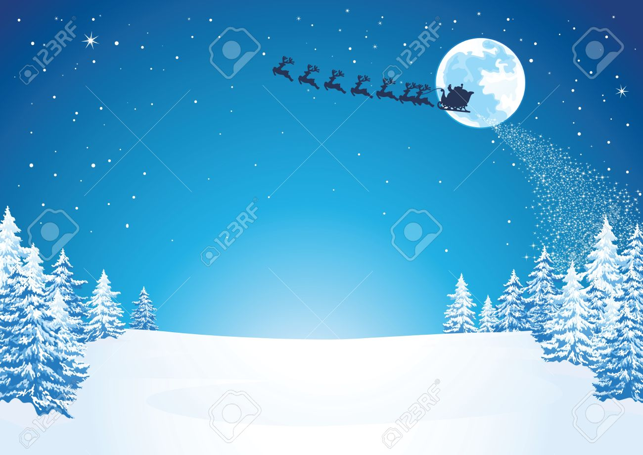 Winter Christmas Scene Stock Vector - 10983164
