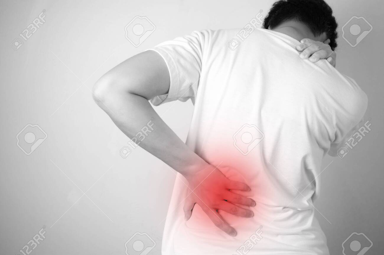 Asian people with back pain, isolated on a white background, black and white images. - 127975351
