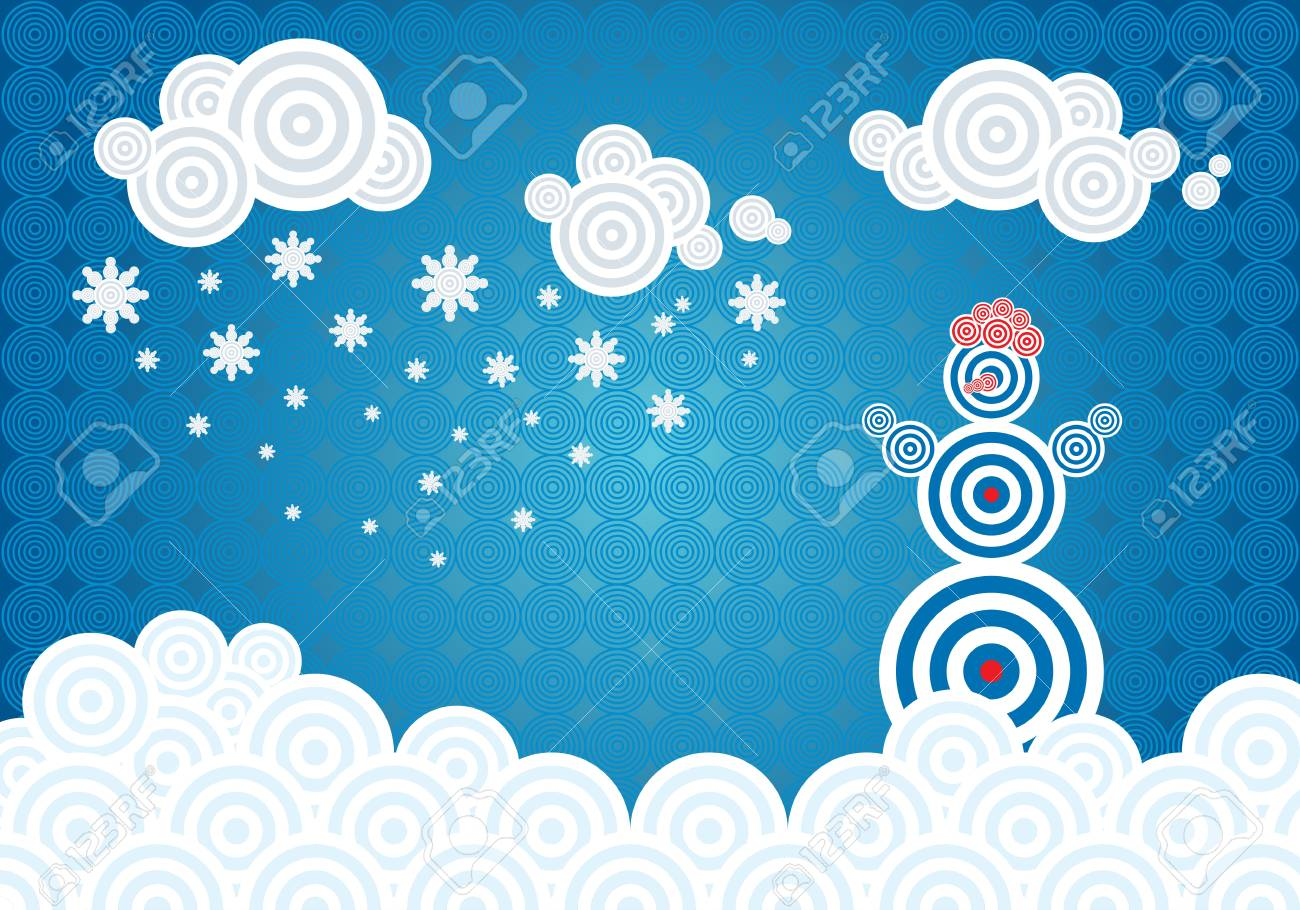 Horizontal vector illustration with winter theme and a snowman Stock Vector - 17965772