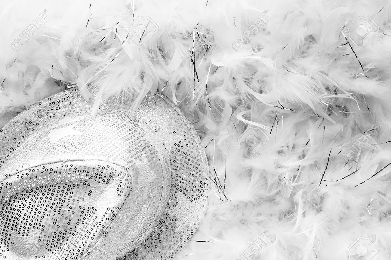 black and white style party background with white sequins hat
