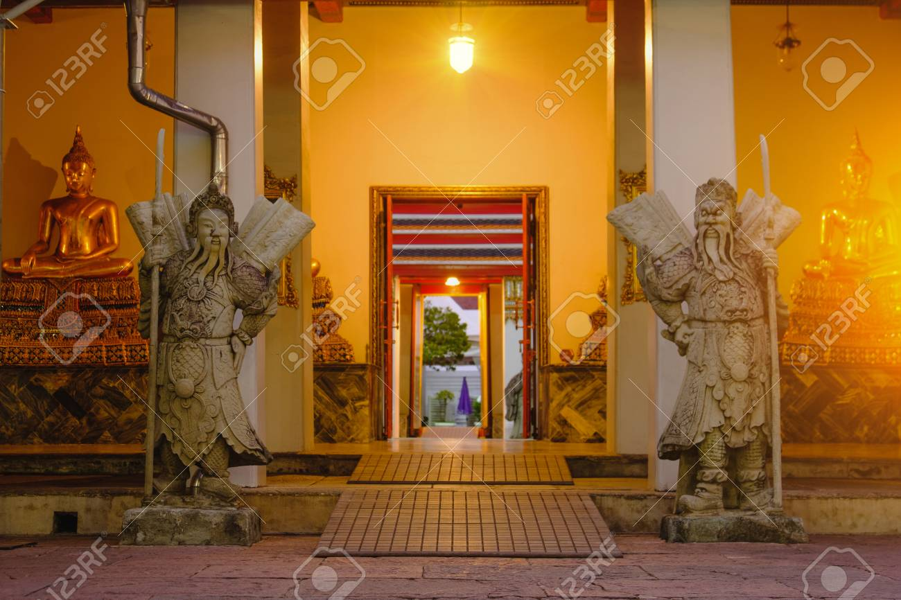 Stock Photo - Stone Thai-Chinese style sculpture and thai door art architecture in Wat Pho temple Thailand. & Stone Thai-Chinese Style Sculpture And Thai Door Art Architecture ...