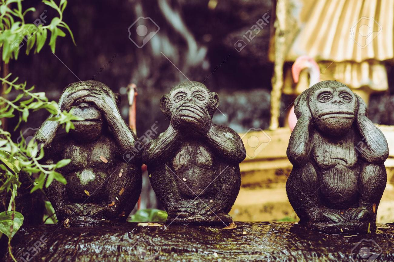 Vintage Image On Three Monkey Statues And This Buddhist Concept