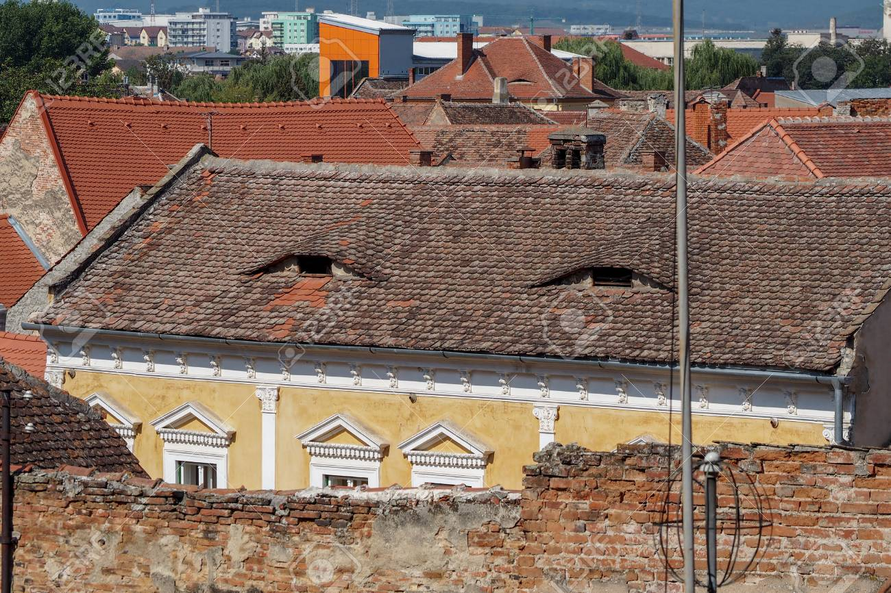 Sibiu Romania The City Where Houses Have Eyes Stock Photo