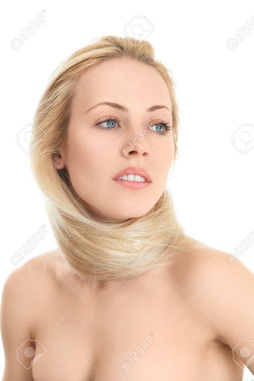 Young blonde woman with scarf from her long hair Stock Photo - 15408363