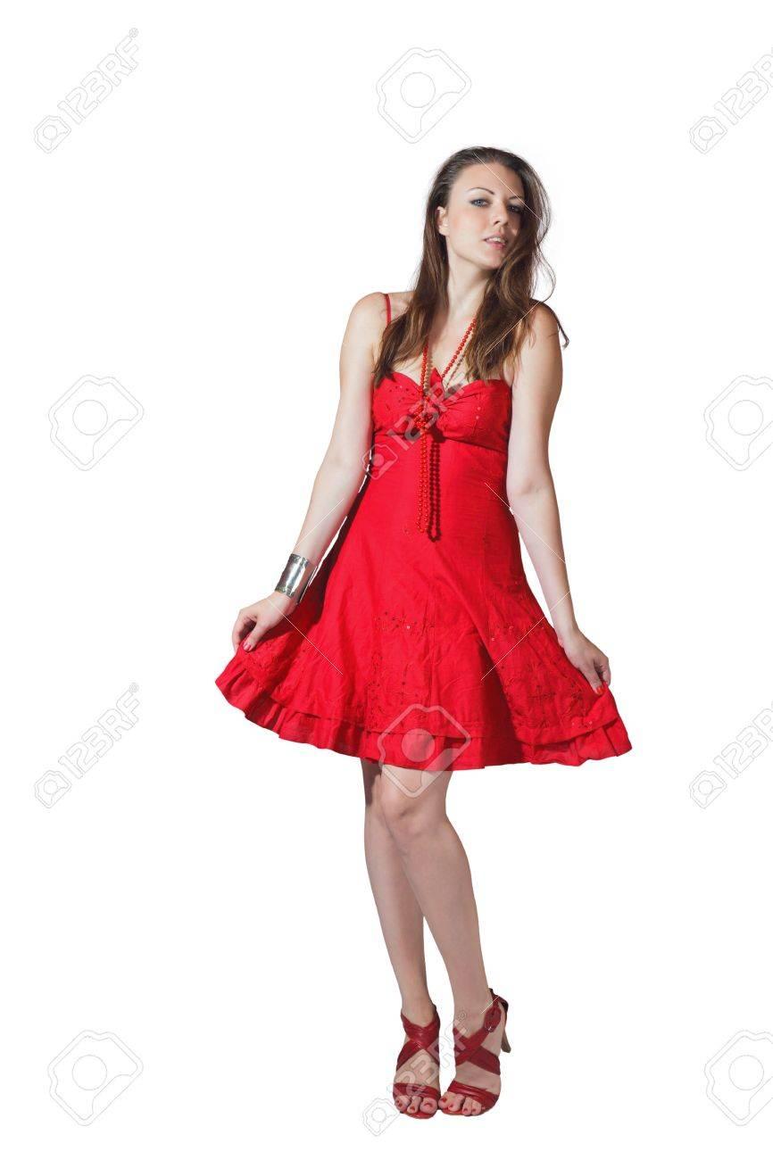 ab549725a97102 Mooi blond meisje in lange elegante rode jurk geïsoleerd op witte  achtergrond Stockfoto - 15408276