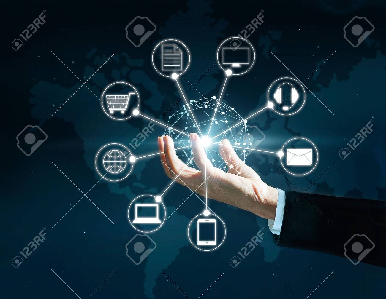 Hands holding circle global network connection, Omni Channel or Multi channel Standard-Bild - 54938089