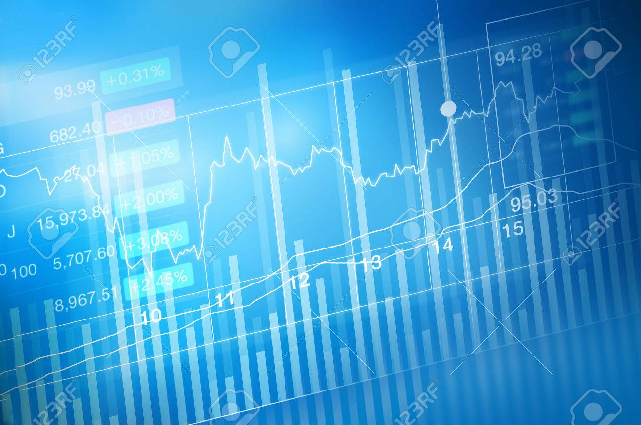stock market investment trading, candle stick graph chart, trend of graph, Bullish point, Bearish point, soft and blur Standard-Bild - 54938186