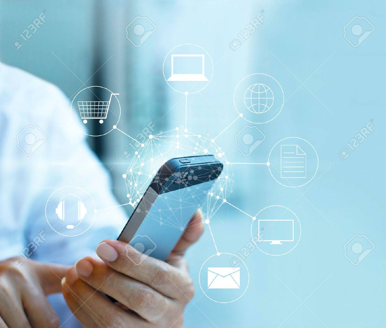 Man using mobile payment, holding circle global and icon customer network connection, Omni Channel or Multi channel Standard-Bild - 54952213