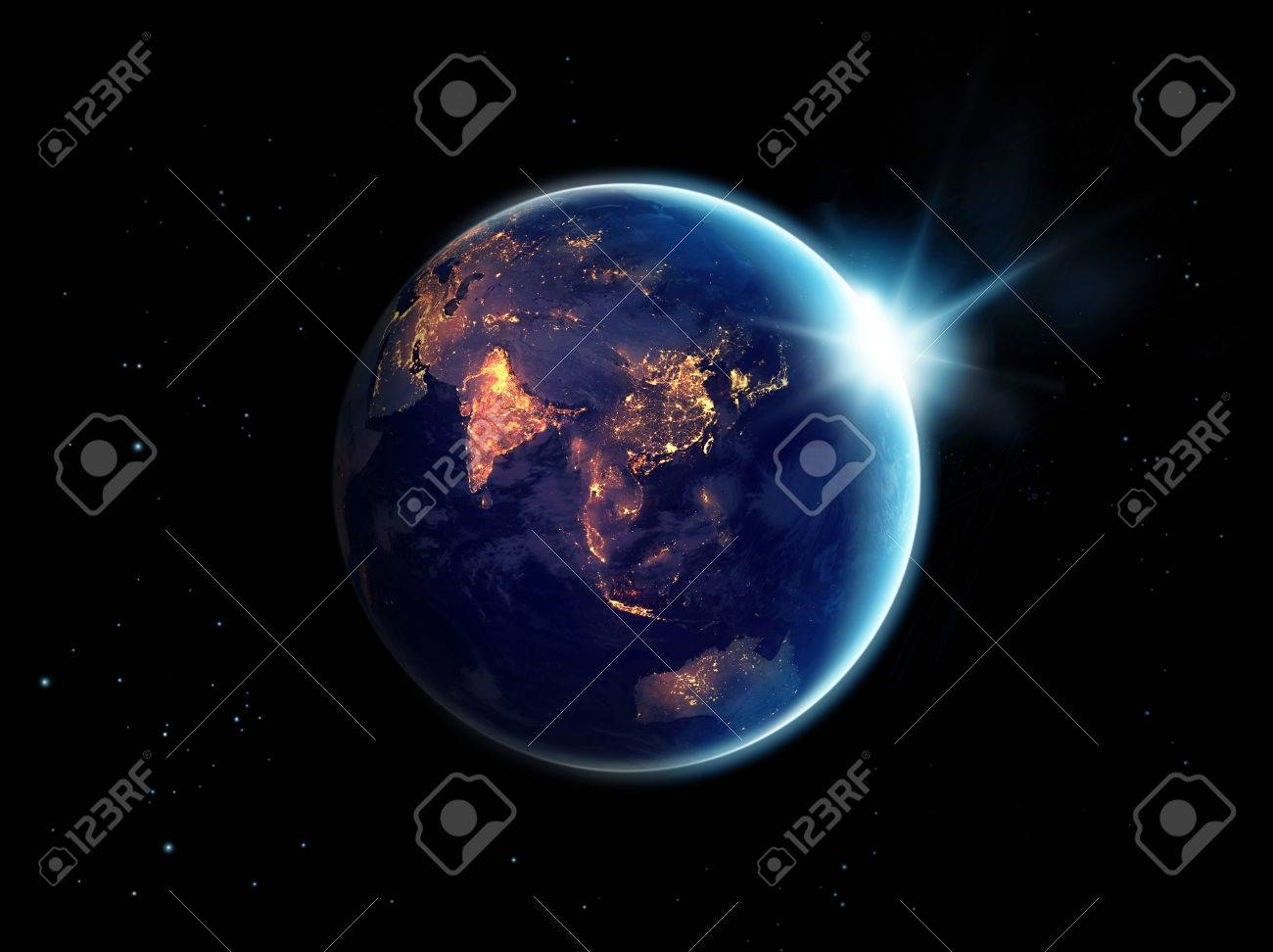 City lights at night in planet earth with with sun rising, Standard-Bild - 60006781