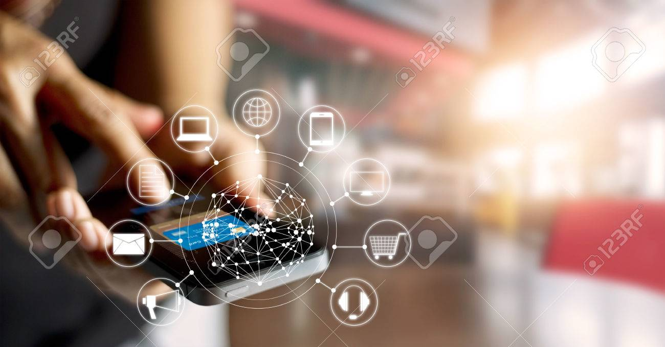 Man using mobile payments online shopping and icon customer network connection on screen, m-banking and omni channel - 66776095